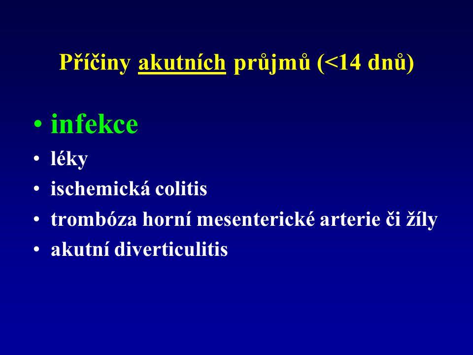 Příčiny akutních průjmů (<14 dnů) infekce léky ischemická colitis trombóza horní mesenterické arterie či žíly akutní diverticulitis