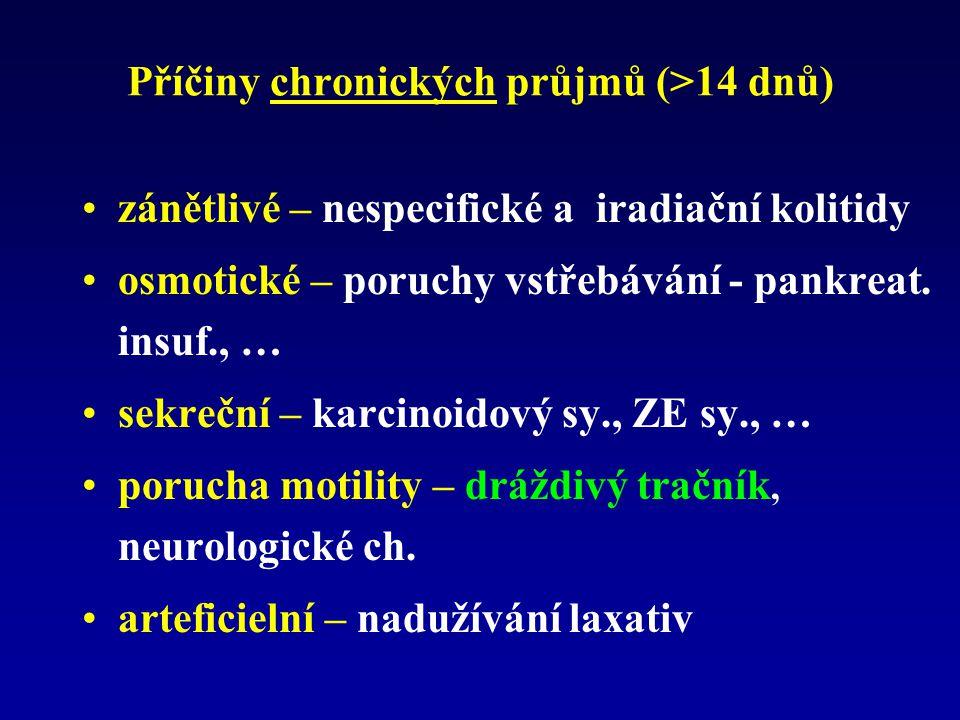 Příčiny chronických průjmů (>14 dnů) zánětlivé – nespecifické a iradiační kolitidy osmotické – poruchy vstřebávání - pankreat. insuf., … sekreční – ka