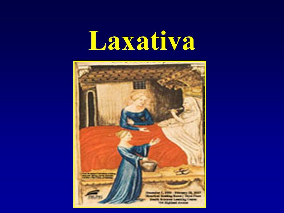 Laxativa - osmotická makrogol - polyetylenglykol (Fortrans) -účinné laxativum užívané zejm.