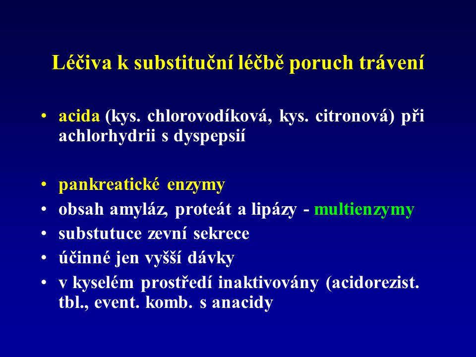 Léčiva k substituční léčbě poruch trávení acida (kys. chlorovodíková, kys. citronová) při achlorhydrii s dyspepsií pankreatické enzymy obsah amyláz, p