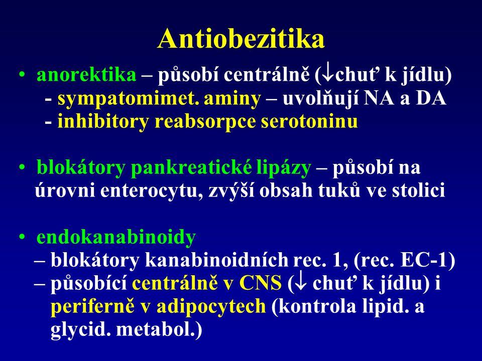 Antiobezitika anorektika – působí centrálně (  chuť k jídlu) - sympatomimet. aminy – uvolňují NA a DA - inhibitory reabsorpce serotoninu blokátory pa
