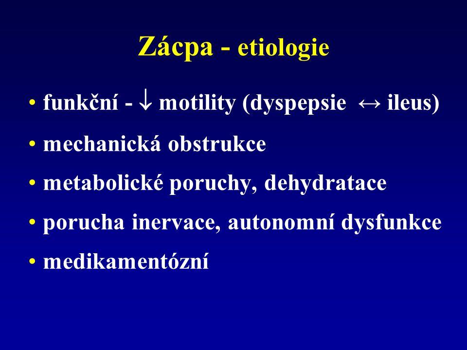 Zácpa - etiologie funkční -  motility (dyspepsie ↔ ileus) mechanická obstrukce metabolické poruchy, dehydratace porucha inervace, autonomní dysfunkce