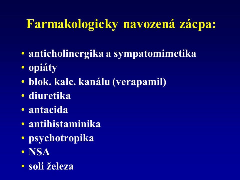 Farmakologicky navozená zácpa: anticholinergika a sympatomimetika opiáty blok. kalc. kanálu (verapamil) diuretika antacida antihistaminika psychotropi