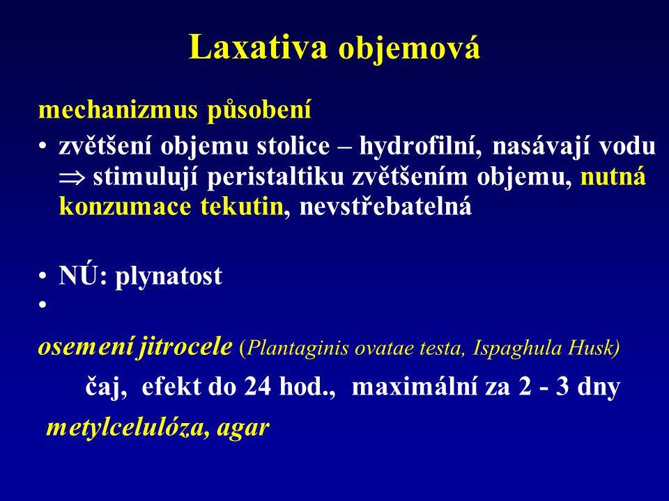 Laxativa stimulační mechanizmus účinku: zvýšení peristaltiky –stimulace nervových pletení v colon (primární ef.) –inhibice Na pumpy - nasávání elektrolytů do lumen – sekundární stimulace peristaltiky v tenkém střevu + colon –rychlost účinku: 4 - 12 hod, čípky desítky min.