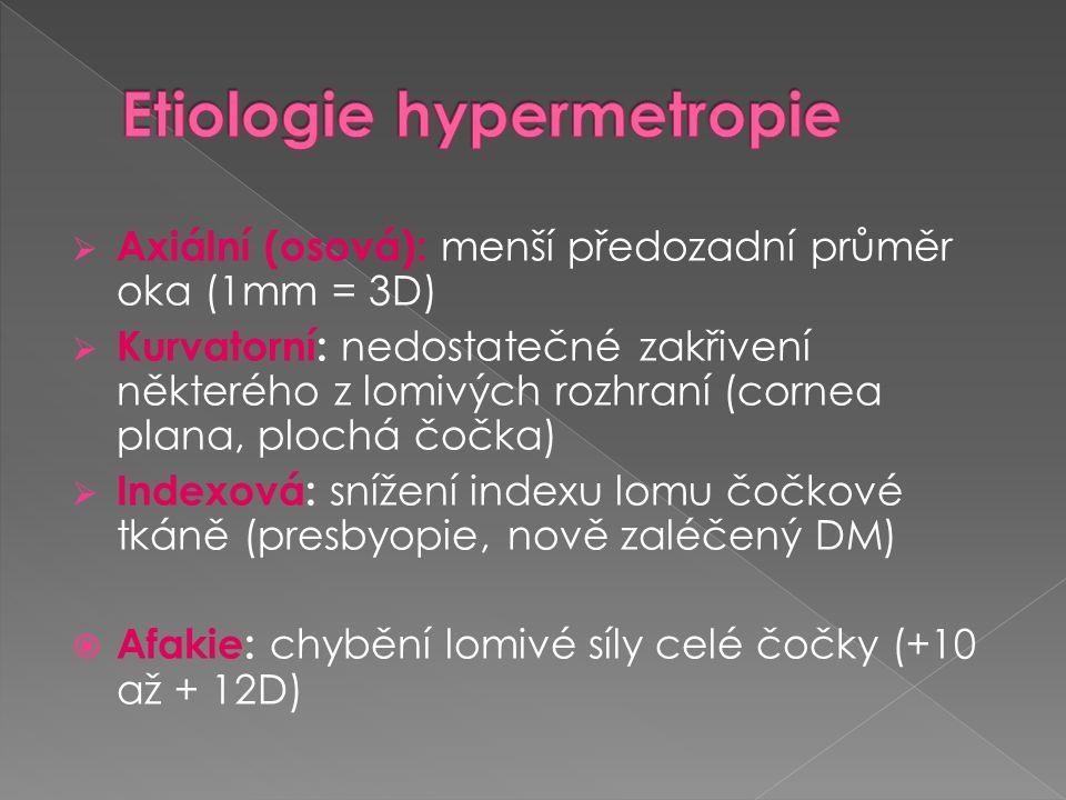  Prodloužení zadního pólu oka  Hlubší přední komora  Skléra ztenčená  Atrofický ciliární sval  Vyklenutí makulární oblasti skléry- zadní stafylom  Chorioretinální degenerativní změny - zadní pól a periferie sítnice