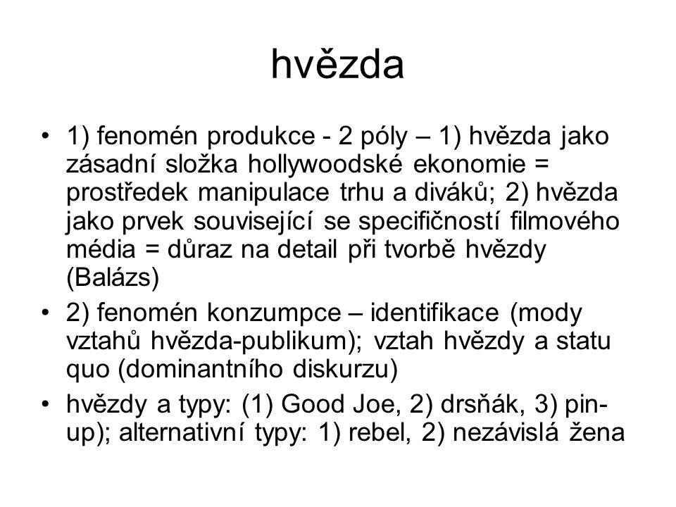 hvězda 1) fenomén produkce - 2 póly – 1) hvězda jako zásadní složka hollywoodské ekonomie = prostředek manipulace trhu a diváků; 2) hvězda jako prvek související se specifičností filmového média = důraz na detail při tvorbě hvězdy (Balázs) 2) fenomén konzumpce – identifikace (mody vztahů hvězda-publikum); vztah hvězdy a statu quo (dominantního diskurzu) hvězdy a typy: (1) Good Joe, 2) drsňák, 3) pin- up); alternativní typy: 1) rebel, 2) nezávislá žena