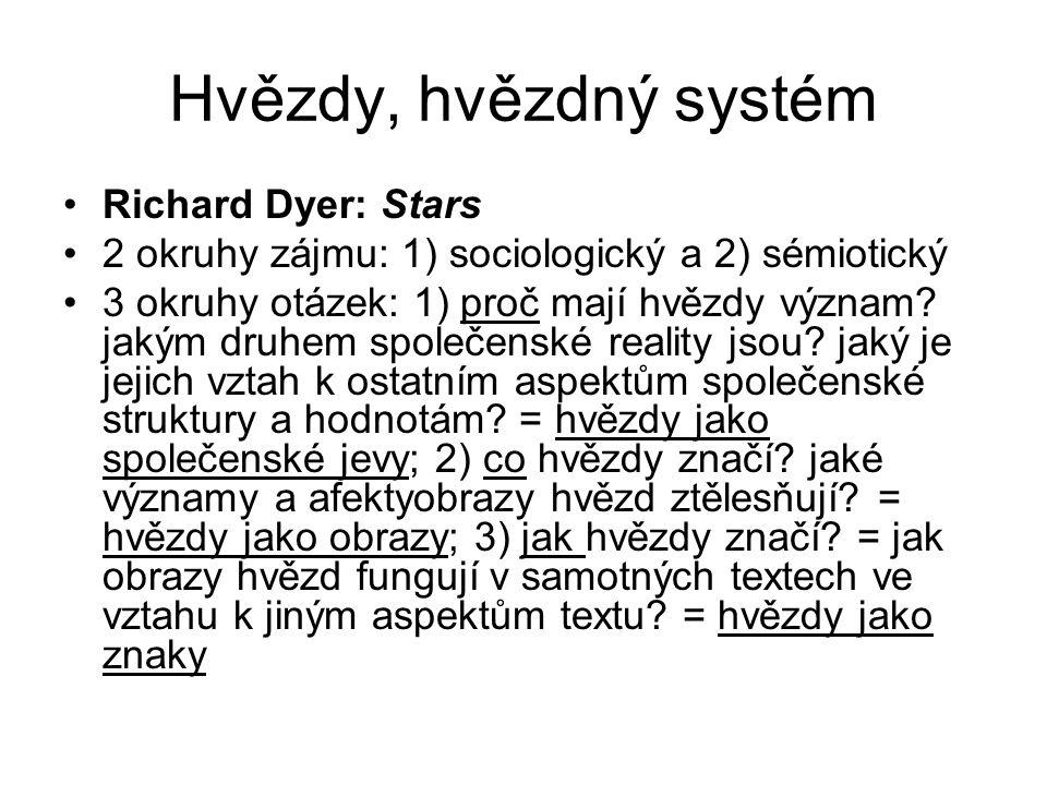 Hvězdy, hvězdný systém Richard Dyer: Stars 2 okruhy zájmu: 1) sociologický a 2) sémiotický 3 okruhy otázek: 1) proč mají hvězdy význam.