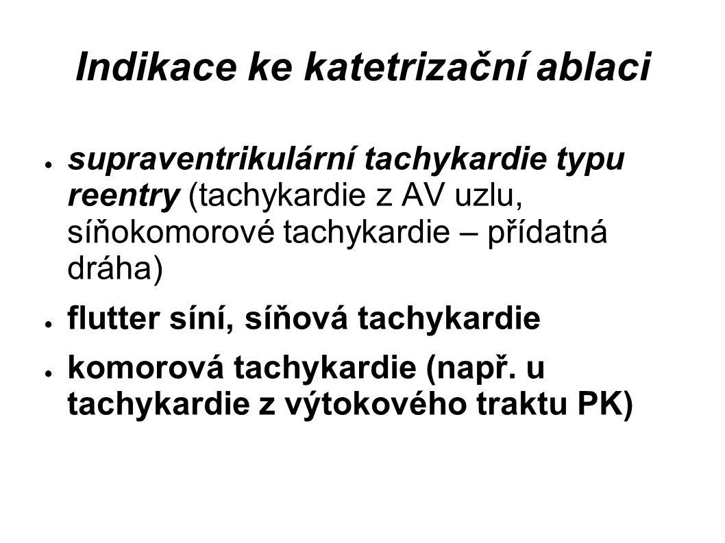 Indikace ke katetrizační ablaci ● supraventrikulární tachykardie typu reentry (tachykardie z AV uzlu, síňokomorové tachykardie – přídatná dráha) ● flu