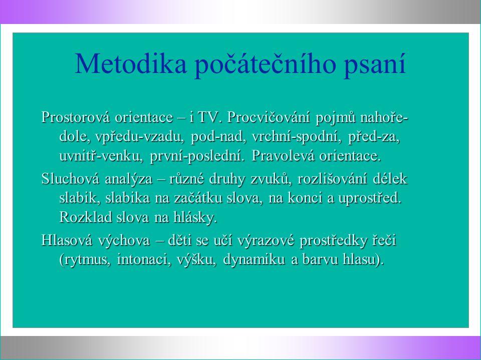 Metodika počátečního psaní Prostorová orientace – i TV. Procvičování pojmů nahoře- dole, vpředu-vzadu, pod-nad, vrchní-spodní, před-za, uvnitř-venku,
