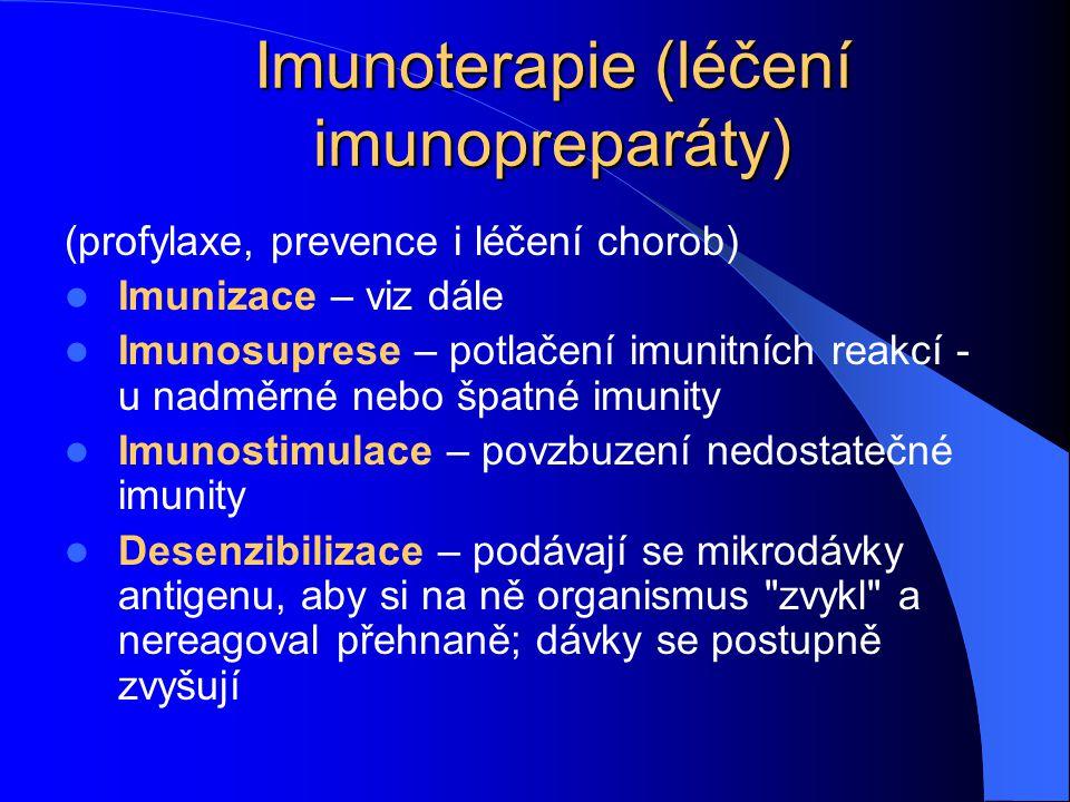 Imunoterapie (léčení imunopreparáty) (profylaxe, prevence i léčení chorob) Imunizace – viz dále Imunosuprese – potlačení imunitních reakcí - u nadměrn