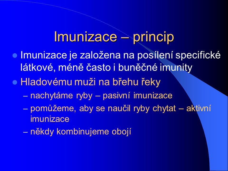 Imunizace – princip Imunizace je založena na posílení specifické látkové, méně často i buněčné imunity Hladovému muži na břehu řeky – nachytáme ryby –