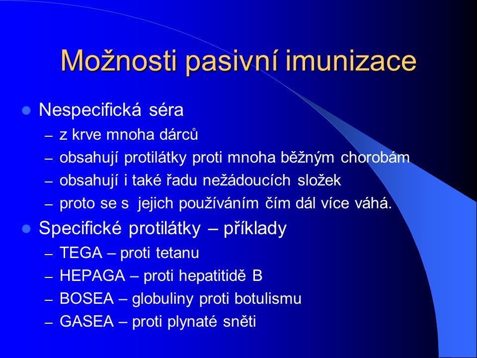 Možnosti pasivní imunizace Nespecifická séra – z krve mnoha dárců – obsahují protilátky proti mnoha běžným chorobám – obsahují i také řadu nežádoucích