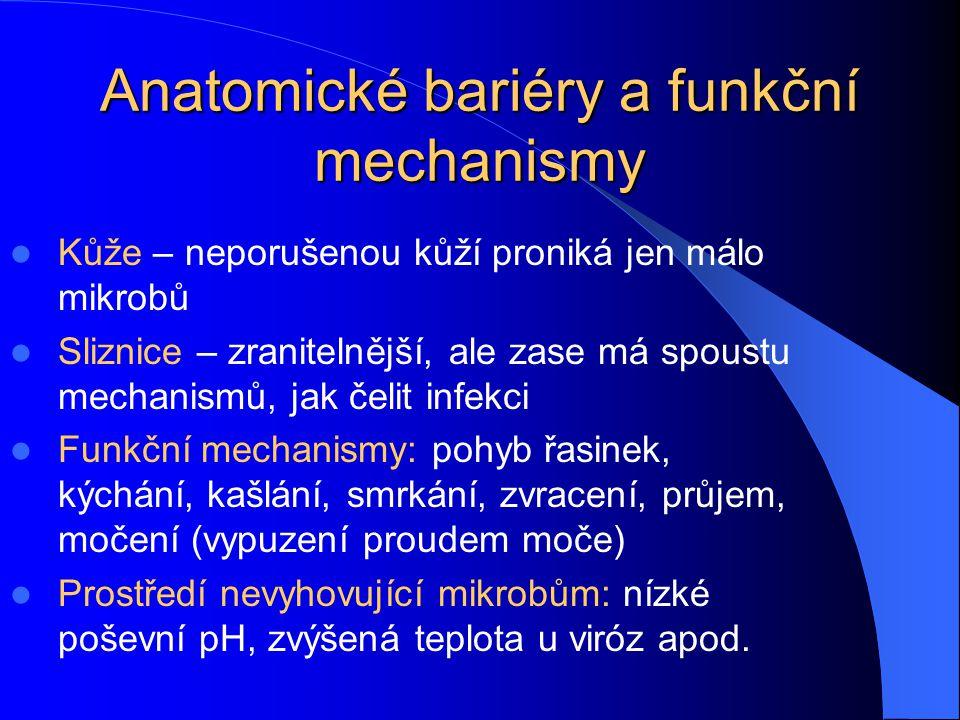 Anatomické bariéry a funkční mechanismy Kůže – neporušenou kůží proniká jen málo mikrobů Sliznice – zranitelnější, ale zase má spoustu mechanismů, jak
