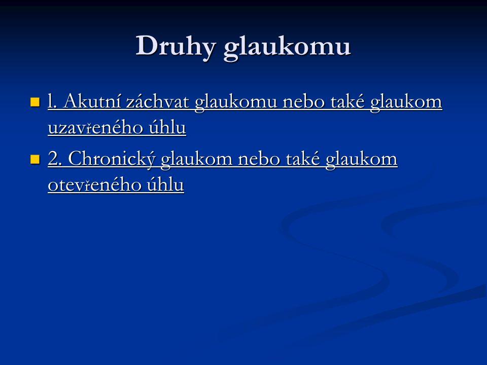 Specifikace glaukomu Glaukom p ř esn ě ji Glaukom p ř esn ě ji klasifikujeme podle stavu duhovkorohovkového úhlu klasifikujeme podle stavu duhovkorohovkového úhlu A)P ř i otev ř eném úhlu A)P ř i otev ř eném úhlu
