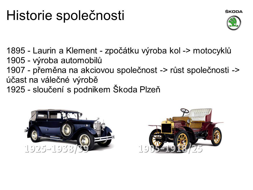1895 - Laurin a Klement - zpočátku výroba kol -> motocyklů 1905 - výroba automobilů 1907 - přeměna na akciovou společnost -> růst společnosti -> účast na válečné výrobě 1925 - sloučení s podnikem Škoda Plzeň Historie společnosti