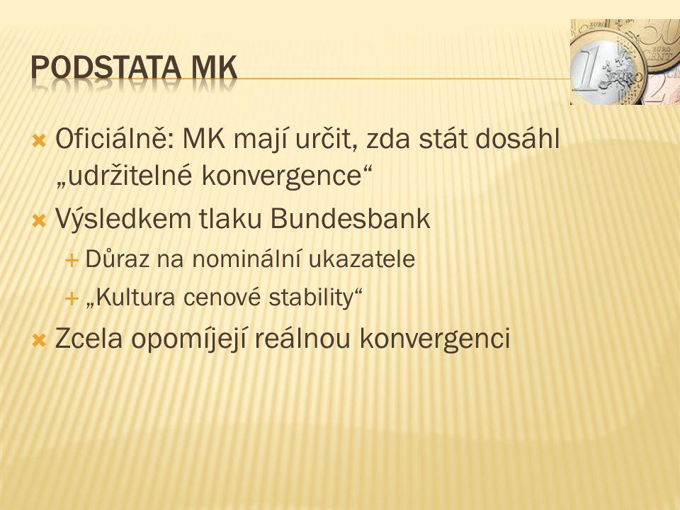 """ Oficiálně: MK mají určit, zda stát dosáhl """"udržitelné konvergence  Výsledkem tlaku Bundesbank  Důraz na nominální ukazatele  """"Kultura cenové stability  Zcela opomíjejí reálnou konvergenci"""