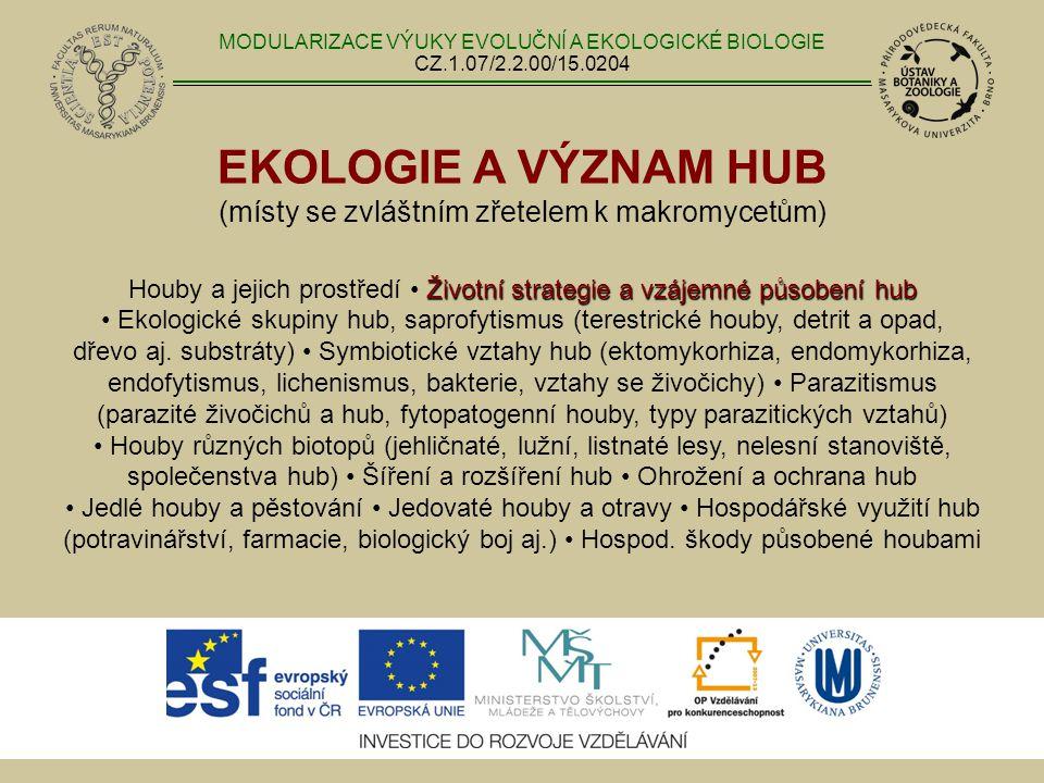 EKOLOGIE A VÝZNAM HUB (místy se zvláštním zřetelem k makromycetům) Životní strategie a vzájemné působení hub Houby a jejich prostředí Životní strategie a vzájemné působení hub Ekologické skupiny hub, saprofytismus (terestrické houby, detrit a opad, dřevo aj.