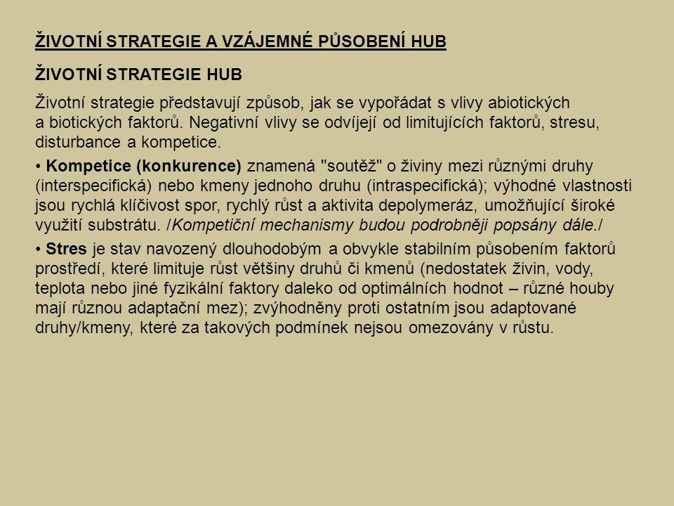 ŽIVOTNÍ STRATEGIE A VZÁJEMNÉ PŮSOBENÍ HUB ŽIVOTNÍ STRATEGIE HUB Životní strategie představují způsob, jak se vypořádat s vlivy abiotických a biotickýc
