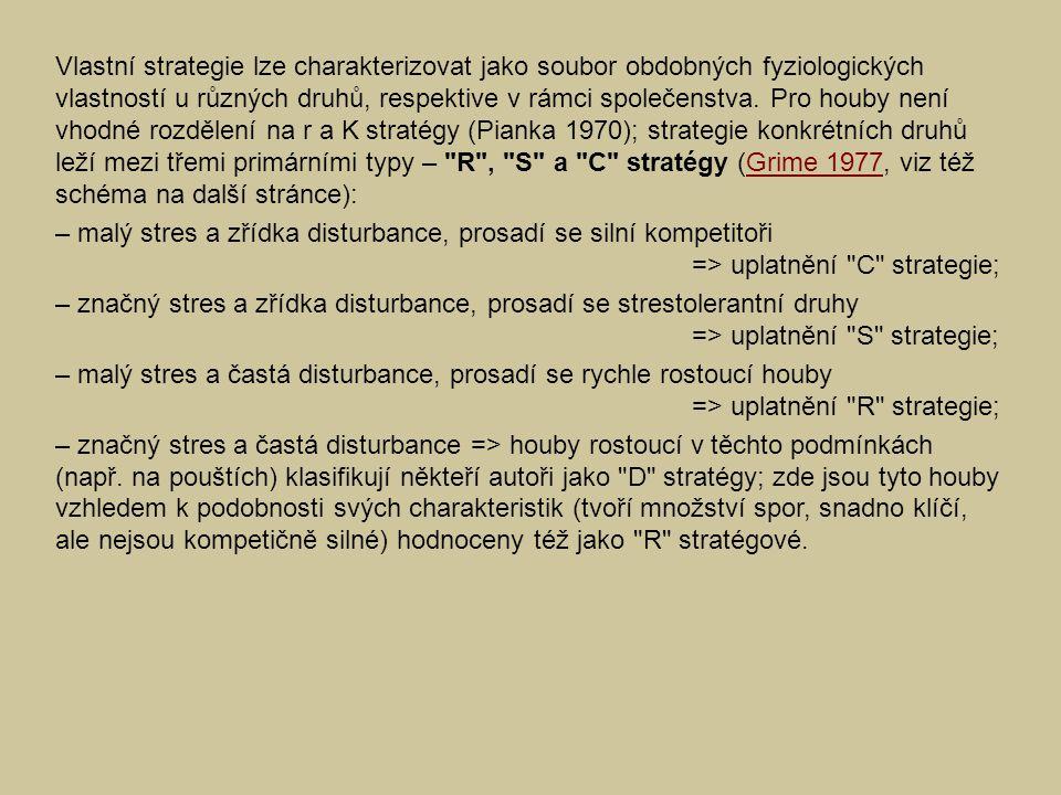 Běžně v přírodě dochází ke kombinacím vlivů => na straně hub pak zaznamenáváme přechodné, sekundární strategie: – přítomnost a prosazení kompetitorů ovlivňují disturbance, stres minimální => C-R kombinace; – adaptace na kolonizaci mírně disturbovaných substrátů s nižší dostupností živin => S-R kombinace; – kompetiční strategie v podmínkách s nízkým stresem => C-S kombinace; – kompetice nízká, omezená středně intenzivním stresem a disturbancemi => C-S-R kombinace.