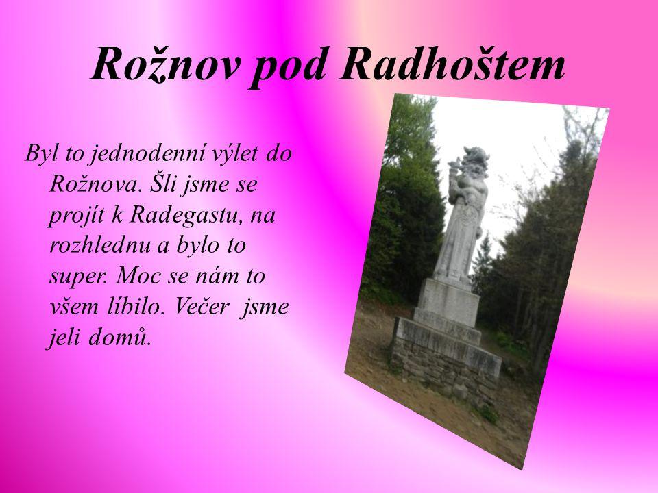 Rožnov pod Radhoštem Byl to jednodenní výlet do Rožnova. Šli jsme se projít k Radegastu, na rozhlednu a bylo to super. Moc se nám to všem líbilo. Veče