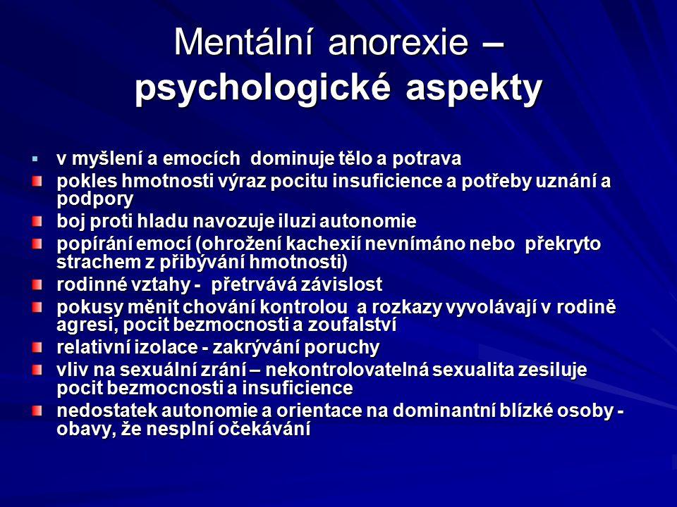 Mentální anorexie – psychologické aspekty  v myšlení a emocích dominuje tělo a potrava pokles hmotnosti výraz pocitu insuficience a potřeby uznání a