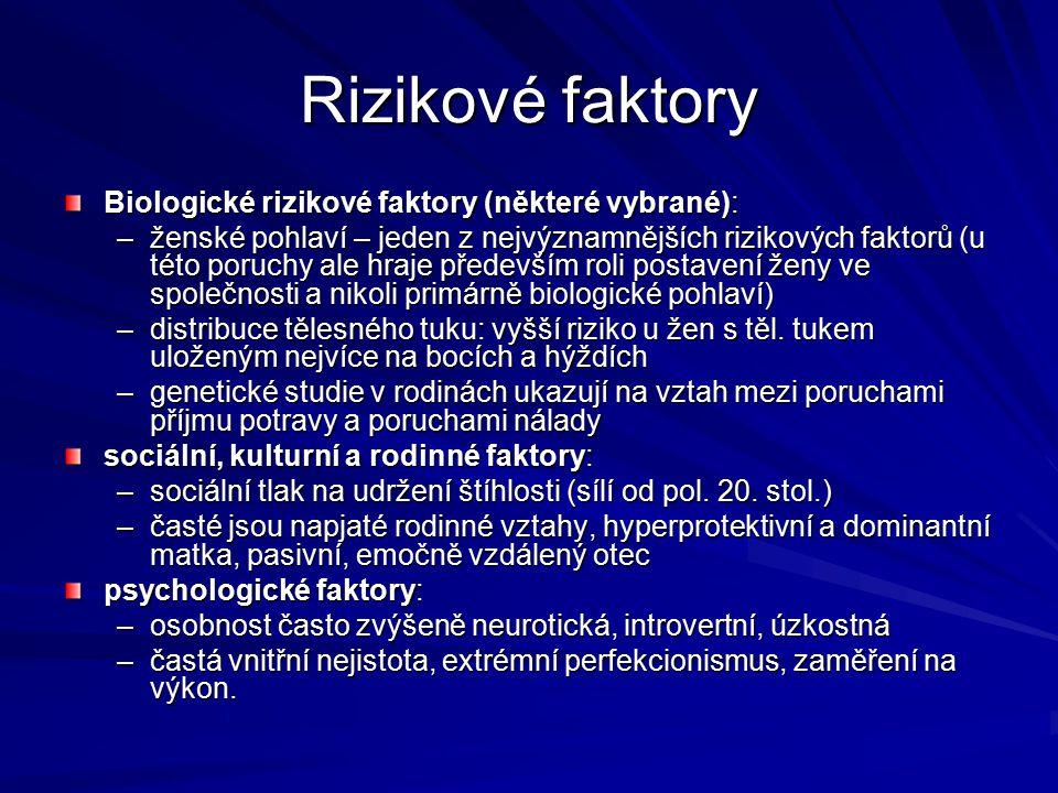 Rizikové faktory Biologické rizikové faktory (některé vybrané): –ženské pohlaví – jeden z nejvýznamnějších rizikových faktorů (u této poruchy ale hraj