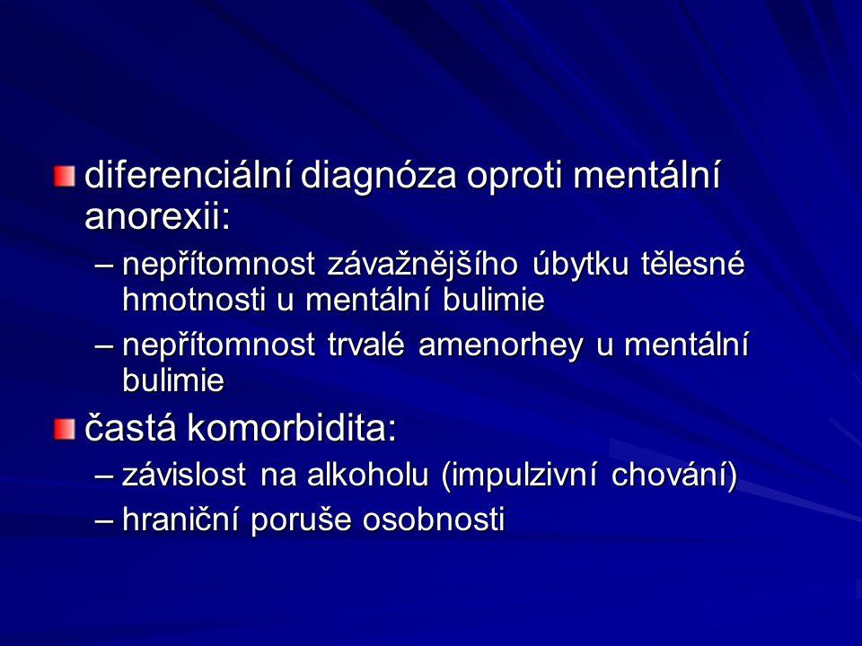 diferenciální diagnóza oproti mentální anorexii: –nepřítomnost závažnějšího úbytku tělesné hmotnosti u mentální bulimie –nepřítomnost trvalé amenorhey