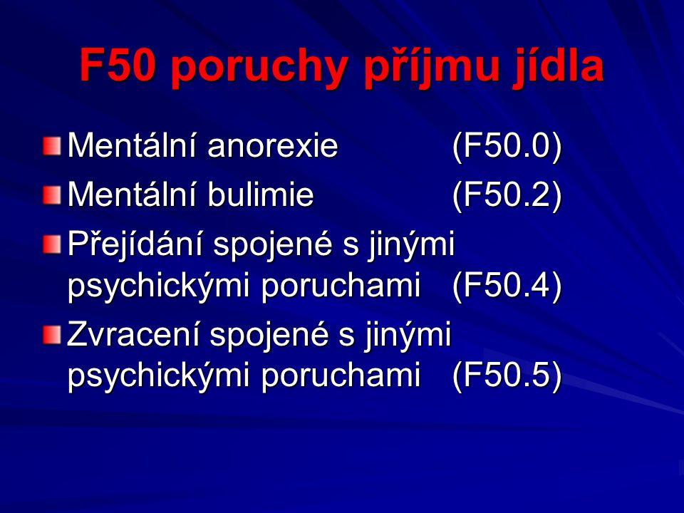 F50 poruchy příjmu jídla Mentální anorexie (F50.0) Mentální bulimie(F50.2) Přejídání spojené s jinými psychickými poruchami(F50.4) Zvracení spojené s