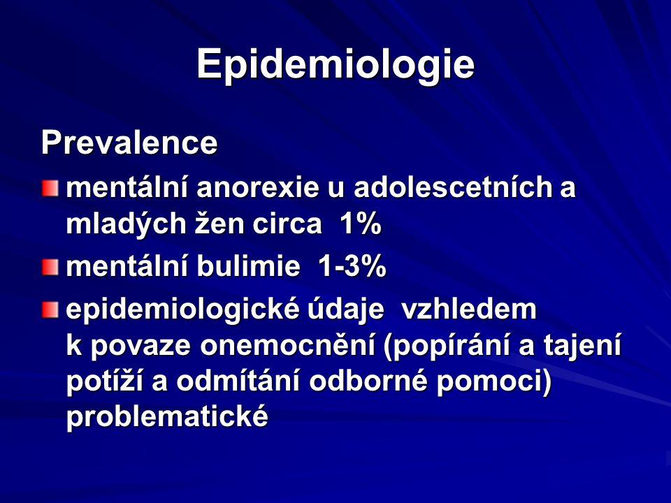 Epidemiologie Prevalence mentální anorexie u adolescetních a mladých žen circa 1% mentální bulimie 1-3% epidemiologické údaje vzhledem k povaze onemoc