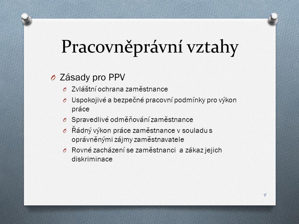 Pracovněprávní vztahy O Zásady pro PPV O Zvláštní ochrana zaměstnance O Uspokojivé a bezpečné pracovní podmínky pro výkon práce O Spravedlivé odměňová