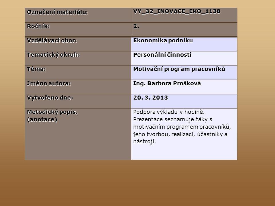 Označení materiálu : VY_32_INOVACE_EKO_1138Ročník:2. Vzdělávací obor: Ekonomika podniku Tematický okruh: Personální činnosti Téma: Motivační program p