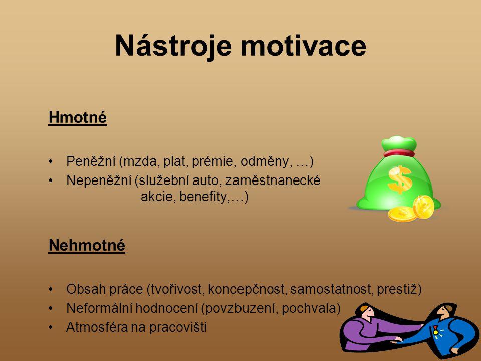 Nástroje motivace Hmotné Peněžní (mzda, plat, prémie, odměny, …) Nepeněžní (služební auto, zaměstnanecké akcie, benefity,…) Nehmotné Obsah práce (tvoř