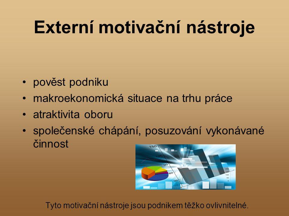Externí motivační nástroje pověst podniku makroekonomická situace na trhu práce atraktivita oboru společenské chápání, posuzování vykonávané činnost T