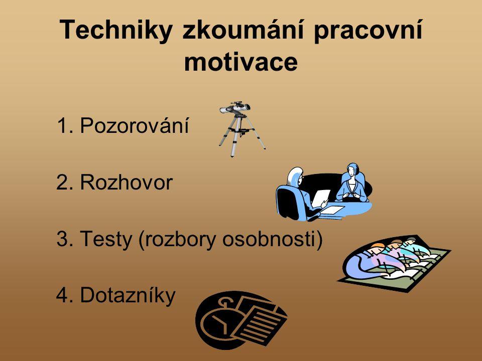 Techniky zkoumání pracovní motivace 1. Pozorování 2. Rozhovor 3. Testy (rozbory osobnosti) 4. Dotazníky