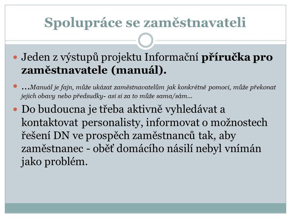 Spolupráce se zaměstnavateli Jeden z výstupů projektu Informační příručka pro zaměstnavatele (manuál).