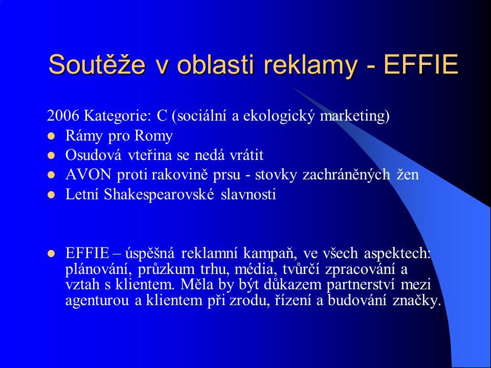 Soutěže v oblasti reklamy - EFFIE 2006 Kategorie: C (sociální a ekologický marketing) Rámy pro Romy Osudová vteřina se nedá vrátit AVON proti rakovině