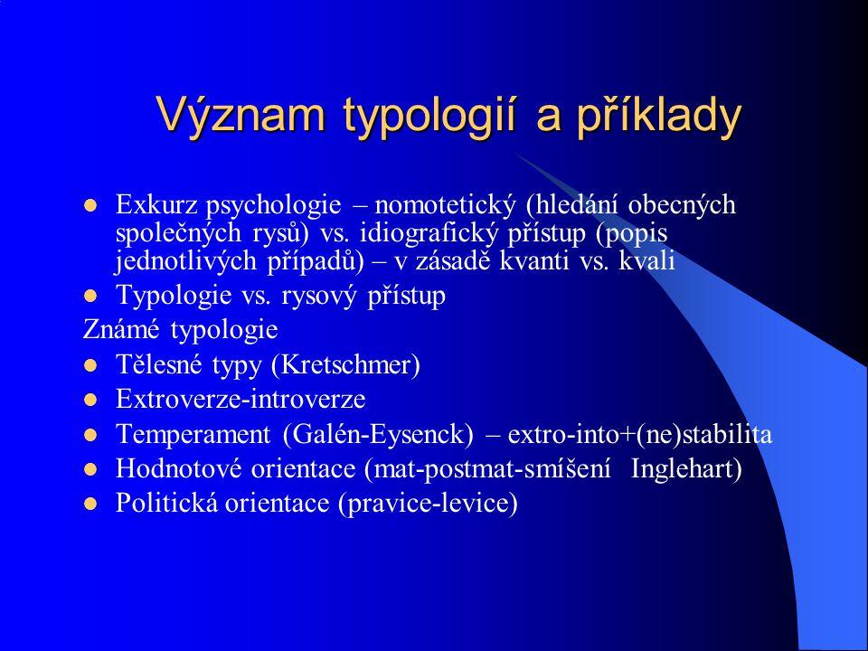 Význam typologií a příklady Exkurz psychologie – nomotetický (hledání obecných společných rysů) vs. idiografický přístup (popis jednotlivých případů)