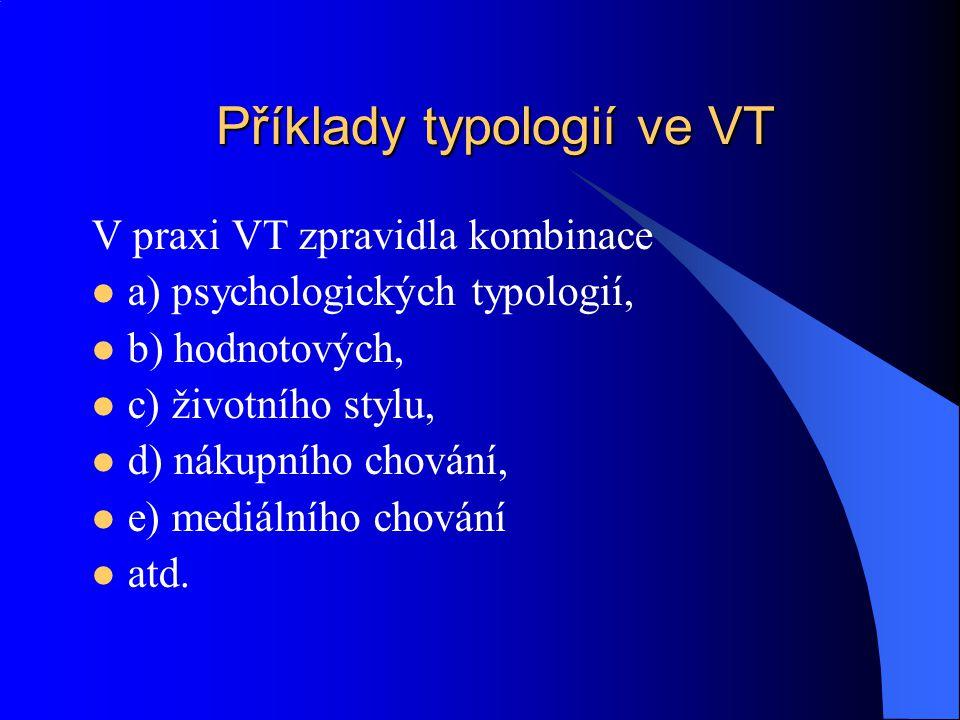 Příklady typologií ve VT V praxi VT zpravidla kombinace a) psychologických typologií, b) hodnotových, c) životního stylu, d) nákupního chování, e) med