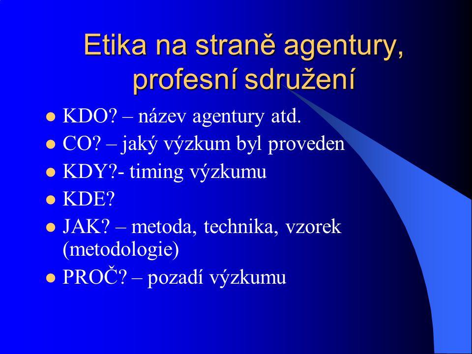 Etika na straně agentury, profesní sdružení KDO? – název agentury atd. CO? – jaký výzkum byl proveden KDY?- timing výzkumu KDE? JAK? – metoda, technik