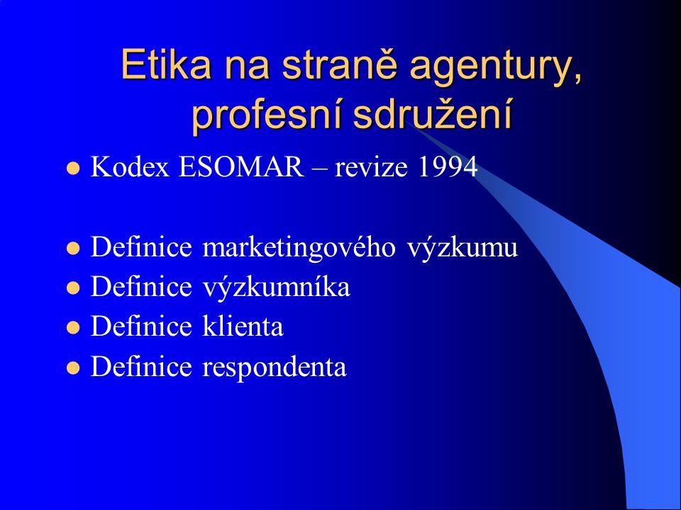 Etika na straně agentury, profesní sdružení Kodex ESOMAR – revize 1994 Definice marketingového výzkumu Definice výzkumníka Definice klienta Definice r