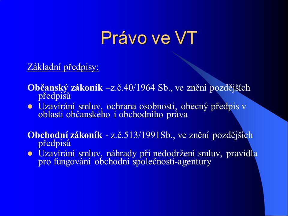Právo ve VT Základní předpisy: Občanský zákoník –z.č.40/1964 Sb., ve znění pozdějších předpisů Uzavírání smluv, ochrana osobnosti, obecný předpis v ob