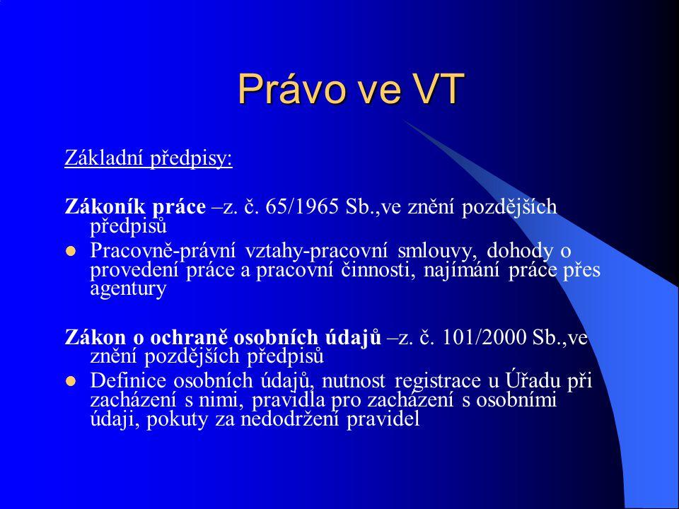 Právo ve VT Základní předpisy: Zákoník práce –z. č. 65/1965 Sb.,ve znění pozdějších předpisů Pracovně-právní vztahy-pracovní smlouvy, dohody o provede