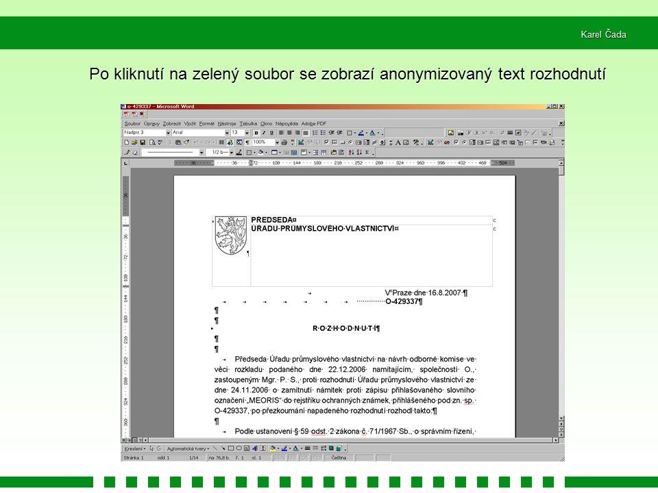 Po kliknutí na zelený soubor se zobrazí anonymizovaný text rozhodnutí
