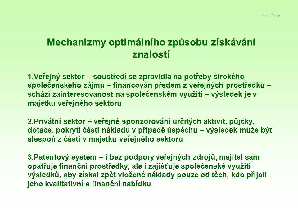 Karel Čada Mechanizmy optimálního způsobu získávání znalostí 1.Veřejný sektor – soustředí se zpravidla na potřeby širokého společenského zájmu – finan