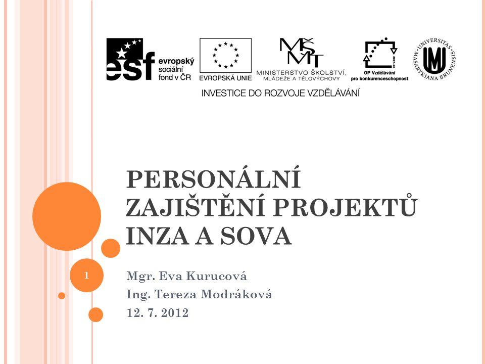 PERSONÁLNÍ ZAJIŠTĚNÍ PROJEKTŮ INZA A SOVA Mgr. Eva Kurucová Ing. Tereza Modráková 12. 7. 2012 1