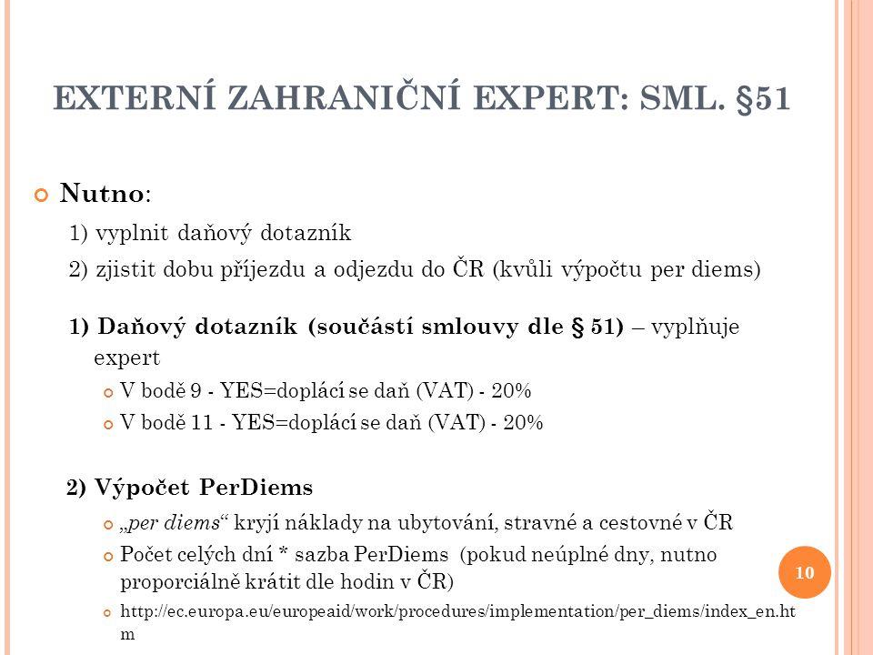 EXTERNÍ ZAHRANIČNÍ EXPERT: SML. §51 Nutno : 1) vyplnit daňový dotazník 2) zjistit dobu příjezdu a odjezdu do ČR (kvůli výpočtu per diems) 1) Daňový do