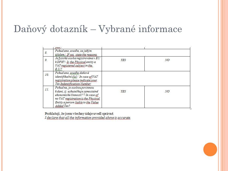Daňový dotazník – Vybrané informace 11.7.2012