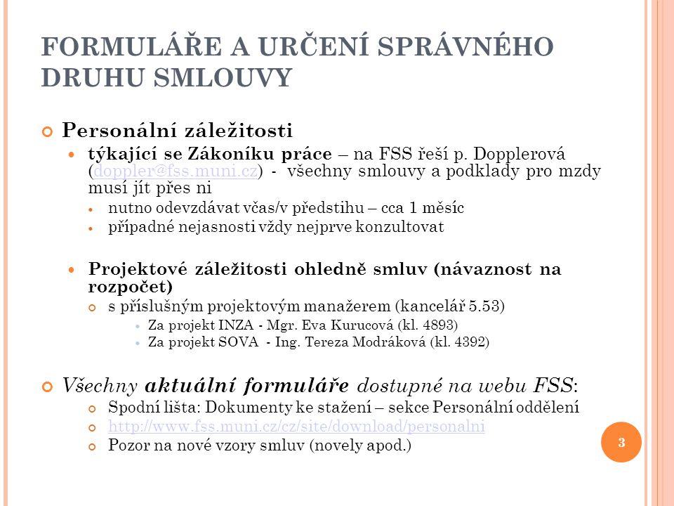 FORMULÁŘE A URČENÍ SPRÁVNÉHO DRUHU SMLOUVY Personální záležitosti týkající se Zákoníku práce – na FSS řeší p. Dopplerová (doppler@fss.muni.cz) - všech