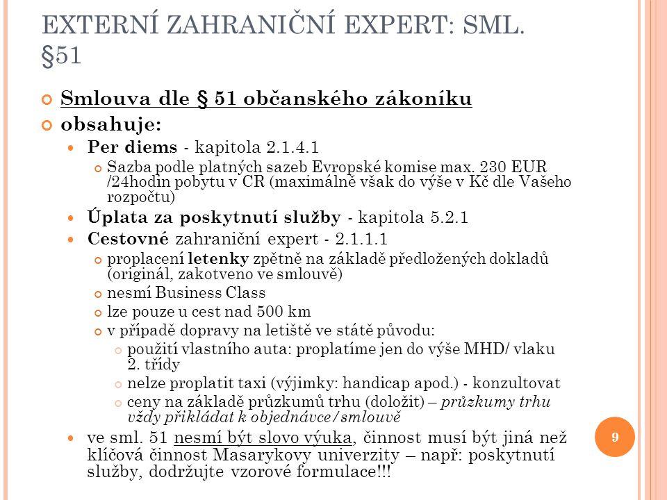 EXTERNÍ ZAHRANIČNÍ EXPERT: SML. §51 Smlouva dle § 51 občanského zákoníku obsahuje: Per diems - kapitola 2.1.4.1 Sazba podle platných sazeb Evropské ko