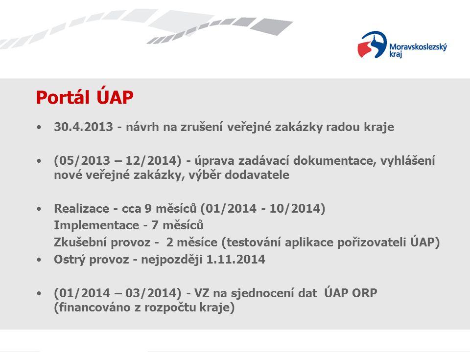 Portál ÚAP 30.4.2013 - návrh na zrušení veřejné zakázky radou kraje (05/2013 – 12/2014) - úprava zadávací dokumentace, vyhlášení nové veřejné zakázky, výběr dodavatele Realizace - cca 9 měsíců (01/2014 - 10/2014) Implementace - 7 měsíců Zkušební provoz - 2 měsíce (testování aplikace pořizovateli ÚAP) Ostrý provoz - nejpozději 1.11.2014 (01/2014 – 03/2014) - VZ na sjednocení dat ÚAP ORP (financováno z rozpočtu kraje)